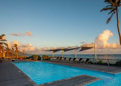 Early morning at the pooldeck Nisbet Plantation Beach Resort Nevis-WIDE