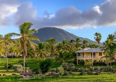 Caribbean cottages nestled amongst the palms at Nisbet Plantation Beach Resort and Hotel
